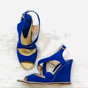 💙 Anthropologie Andre Assous Blue Suede Wedges 💙